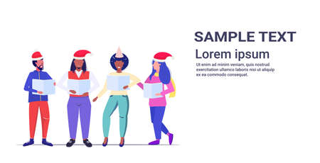 mix race people holding sheet books and giving performance merry xmas happy new year holidays celebration concept men women wearing santa hats standing together copy space horizontal full length vector illustration