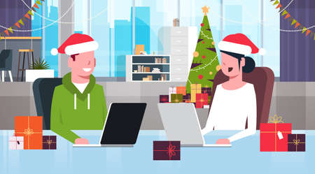businesspeople in santa hats sitting at workplace with present gift boxes merry christmas happy new year holidays celebration concept modern office interior flat portrait horizontal vector illustration
