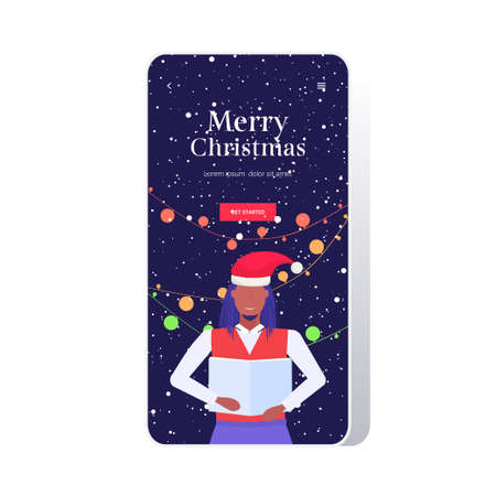 man holding sheet book and giving performance merry christmas happy new year holidays celebration concept african american guy singing carol smartphone screen online mobile app portrait vector illustration
