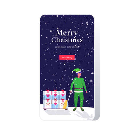 elf santa helper pulling trolley cart with gift present boxes merry christmas happy new year winter holidays celebration concept smartphone screen online mobile app full length vector illustration
