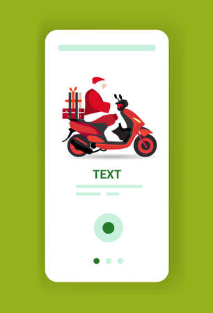santa claus with gift present boxes riding delivery scooter merry christmas happy new year winter holidays celebration concept smartphone screen online mobile app vertical full length vector illustration