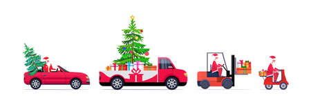 set santa claus driving red pickup car forklift and scooter with fir tree and gift present boxes merry christmas happy new year winter holidays concept horizontal vector illustration 向量圖像