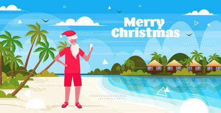 man wearing santa claus hat using smartphone on tropical beach new year christmas vacation holiday concept seascape background greeting card full length horizontal vector illustration