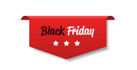 Sonderangebot Verkauf Promo Marketing Schwarzer Freitag Feiertags-Shopping-Konzept Rotes Rabatt-Aufkleber-Symbol für Werbekampagne im Einzelhandel horizontale Vektorillustration Vektorgrafik
