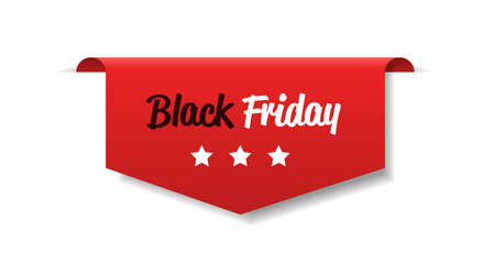 special offer sale promo marketing black friday holiday shopping concept red discount sticker symbol for advertising campaign in retail horizontal vector illustration Vetores