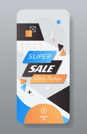 cyber monday big sale sticker advertisement special offer concept holiday shopping discount smartphone screen online mobile app vertical vector illustration