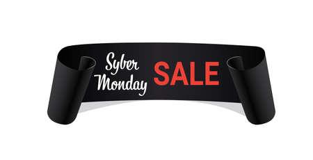 czarny zakrzywiony baner cyber poniedziałek sprzedaż koncepcja wstążka kształt świąteczne zakupy pozioma ilustracja wektorowa