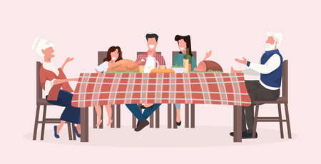 multi generation family sitting at table having christmas dinner grandparents parents and children discussing during meeting holidays celebration concept full length horizontal vector illustration