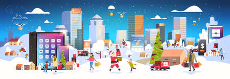 people with shopping bags walking outdoor using online mobile app mix race characters preparing for christmas new year holidays winter cityscape background horizontal banner vector illustration