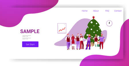 businesspeople in santa hats celebrating corporate party colleagues drinking champagne standing near fir tree merry christmas happy new year winter holidays concept full length horizontal copy space vector illustration