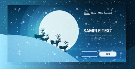 reindeers silhouette over full moon in night sky snowy mountain merry christmas happy new year winter holidays concept greeting card horizontal copy space vector illustration