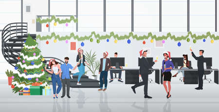 business people celebrating corporate party coworkers drinking champagne merry christmas happy new year winter holidays concept modern office interior full length horizontal vector illustration