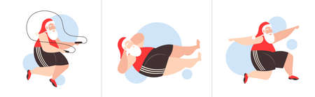 fat santa claus doing different exercises overweight bearded man training workout weight loss concept christmas new year holidays celebration horizontal vector illustration Ilustração