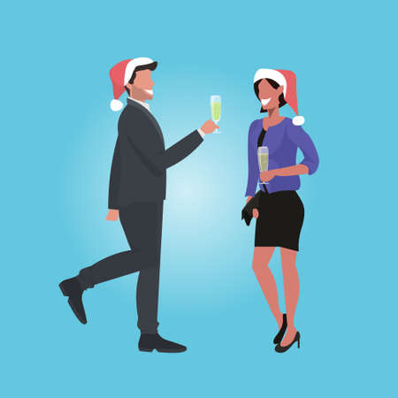 businesspeople in santa hats having corporate party business people couple drinking champagne christmas holidays celebration concept full length vector illustration Illustration