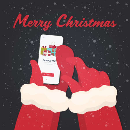 santa hands using mobile app gift present boxes on smartphone screen christmas new year holidays celebration concept greeting card vector illustration Ilustrace