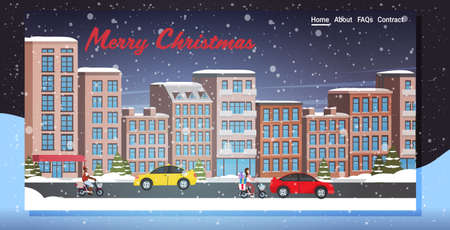 cars and scooters driving asphalt road snowy town street winter city buildings night cityscape snowfall background horizontal greeting card vector illustration  イラスト・ベクター素材