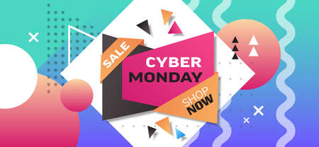 cyber monday big sale template special offer holiday shopping discount concept horizontal poster in memphis style vector illustration Zdjęcie Seryjne - 134559292