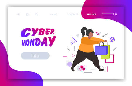 fat woman running with shopping bags cyber monday big sale concept christmas new year holidays discount overweight female shopper with purchases full length horizontal vector illustration 向量圖像