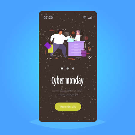 fat man with shopping bags buying clothes at cash desk with female cashier cyber monday big sale concept smartphone screen online mobile app special offer discount full length vector illustration