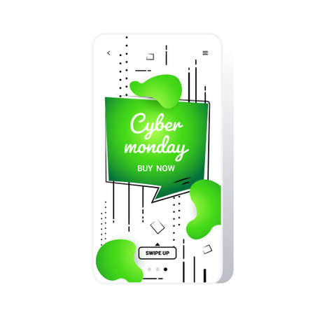 big sale cyber monday liquid color sticker special offer holiday shopping concept smartphone screen online mobile app advertising campaign fluid gradient banner vector illustration Zdjęcie Seryjne - 134559214