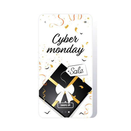 gift box big sale cyber monday banner special offer promo marketing holiday shopping concept smartphone screen online mobile app advertising campaign vector illustration