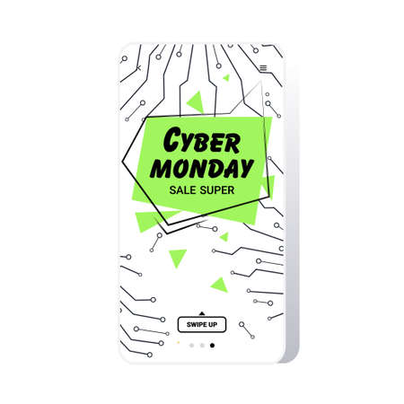 big sale cyber monday circuit board sticker special offer promo marketing holiday shopping concept smartphone screen online mobile app advertising campaign banner vector illustration Zdjęcie Seryjne - 134559211