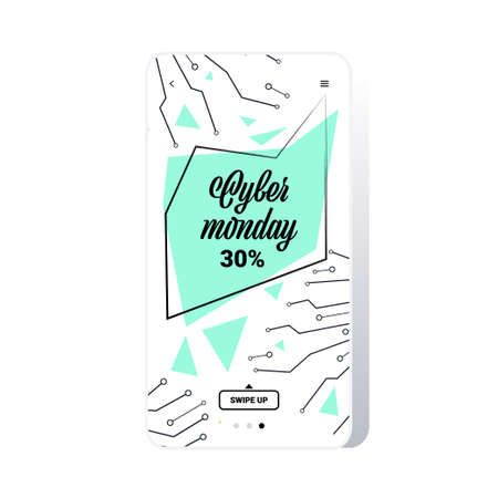 big sale cyber monday circuit board sticker special offer promo marketing holiday shopping concept smartphone screen online mobile app advertising campaign banner vector illustration Zdjęcie Seryjne - 134559168