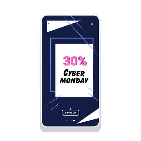 big sale cyber monday sticker special offer promo marketing holiday shopping concept smartphone screen online mobile app advertising campaign banner vector illustration Zdjęcie Seryjne - 134559237