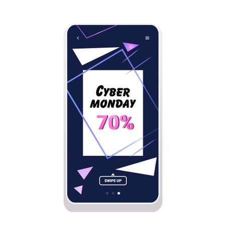 big sale cyber monday sticker special offer promo marketing holiday shopping concept smartphone screen online mobile app advertising campaign banner vector illustration Zdjęcie Seryjne - 134559238