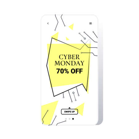 big sale cyber monday circuit board sticker special offer promo marketing holiday shopping concept smartphone screen online mobile app advertising campaign banner vector illustration Zdjęcie Seryjne - 134559173