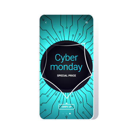 big sale cyber monday circuit board sticker special offer promo marketing holiday shopping concept smartphone screen online mobile app advertising campaign banner vector illustration Zdjęcie Seryjne - 134559239