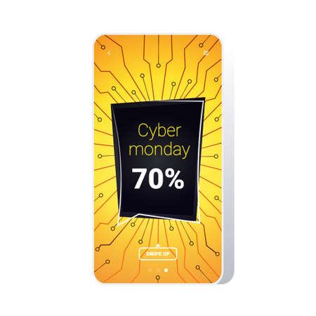 big sale cyber monday circuit board sticker special offer promo marketing holiday shopping concept smartphone screen online mobile app advertising campaign banner vector illustration Zdjęcie Seryjne - 134559240