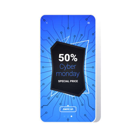 big sale cyber monday circuit board sticker special offer promo marketing holiday shopping concept smartphone screen online mobile app advertising campaign banner vector illustration Zdjęcie Seryjne - 134559241