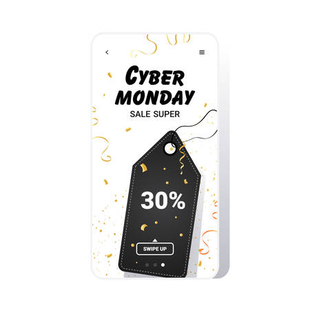 big sale tag cyber monday banner special offer promo marketing holiday shopping concept smartphone screen online mobile app advertising campaign vector illustration Zdjęcie Seryjne - 134559210