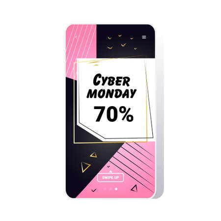 big sale cyber monday sticker special offer promo marketing holiday shopping concept smartphone screen online mobile app advertising campaign banner vector illustration Zdjęcie Seryjne - 134559176