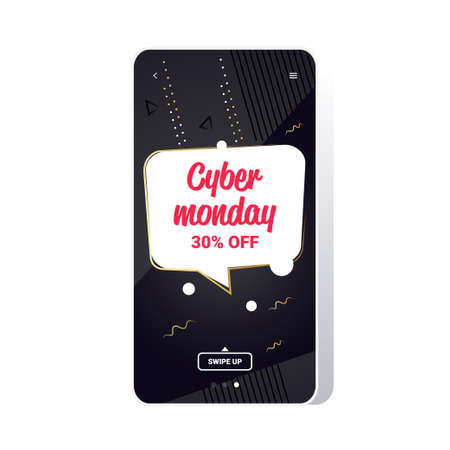 big sale cyber monday chat bubble special offer promo marketing holiday shopping concept smartphone screen online mobile app advertising campaign banner vector illustration