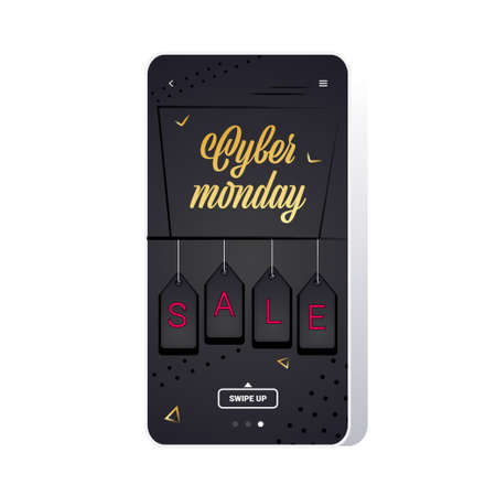 big sale cyber monday tags special offer promo marketing holiday shopping concept smartphone screen online mobile app advertising campaign banner vector illustration Zdjęcie Seryjne - 134559179