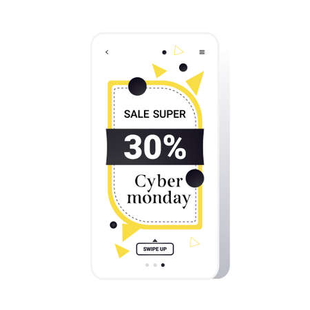 big sale cyber monday sticker special offer promo marketing holiday shopping concept smartphone screen online mobile app advertising campaign banner vector illustration Zdjęcie Seryjne - 134559200
