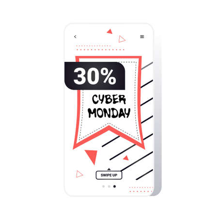 big sale cyber monday sticker special offer promo marketing holiday shopping concept smartphone screen online mobile app advertising campaign banner vector illustration Zdjęcie Seryjne - 134559202