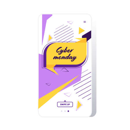 big sale cyber monday sticker special offer promo marketing holiday shopping concept smartphone screen online mobile app advertising campaign banner vector illustration Zdjęcie Seryjne - 134559206
