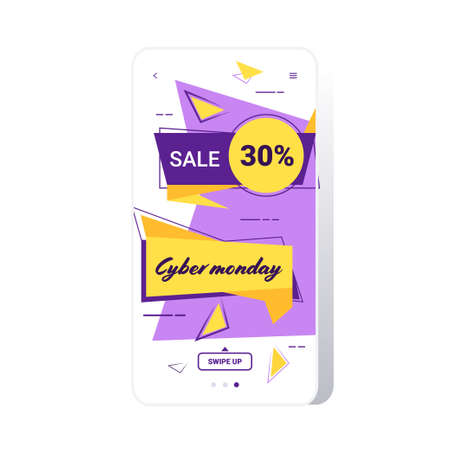 big sale cyber monday sticker special offer promo marketing holiday shopping concept smartphone screen online mobile app advertising campaign banner vector illustration Zdjęcie Seryjne - 134559205
