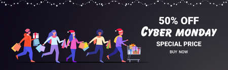 shoppers running with shopping bags cyber monday big sale concept holidays discount mix race men women with purchases full length horizontal banner vector illustration