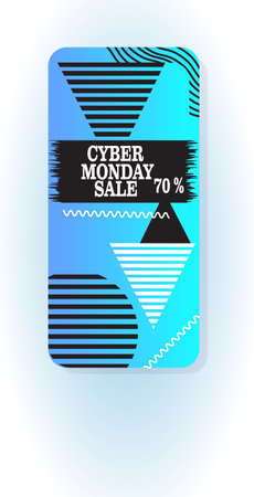 big sale cyber monday sticker special offer promo marketing holiday shopping concept smartphone screen online mobile app advertising campaign banner vertical vector illustration