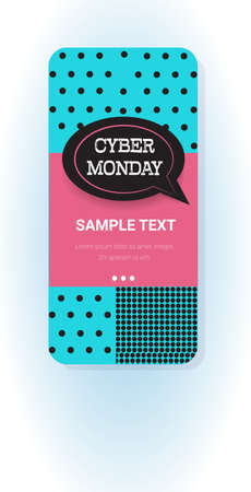 big sale cyber monday chat bubble speech sticker special offer promo marketing holiday shopping concept smartphone screen online mobile app advertising campaign banner vertical vector illustration Zdjęcie Seryjne - 134559228