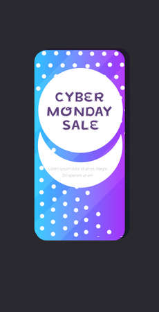 big sale cyber monday sticker special offer promo marketing holiday shopping concept smartphone screen online mobile app advertising campaign banner vertical vector illustration Zdjęcie Seryjne - 134559221