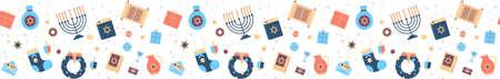 menorah torah bible gift box wreath icons set happy hanukkah judaism religious holidays celebration jewish festival concept seamless pattern horizontal vector illustration Illustration