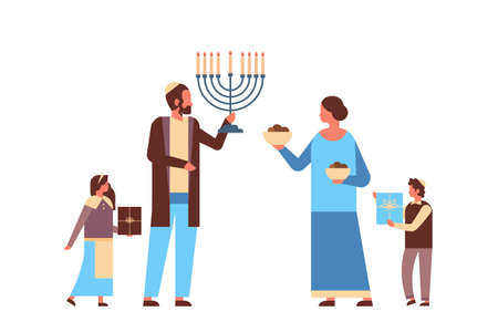 jews family holding menorah and gift boxes jewish parents children in traditional clothes standing together happy hanukkah judaism religious holidays concept horizontal full length vector illustration