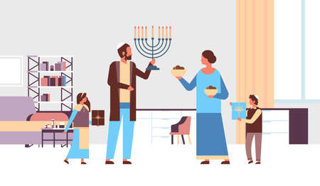 jews family holding menorah and gift boxes jewish parents children in traditional clothes standing together happy hanukkah judaism religious holidays concept living room interior full length vector illustration