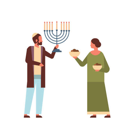 jews couple holding menorah jewish man woman in traditional clothes standing together happy hanukkah judaism religious holidays concept full length vector illustration