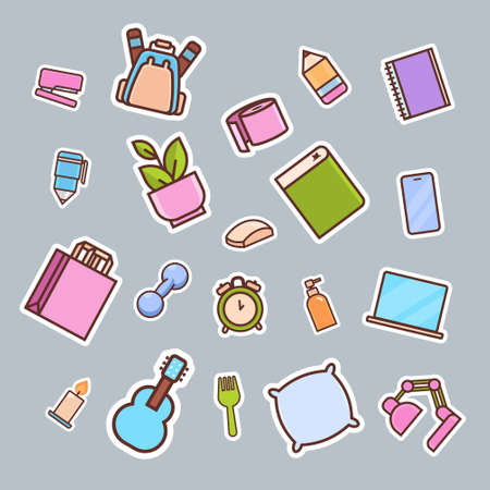cartoon items back to school concept different icons collection vector illustration 向量圖像